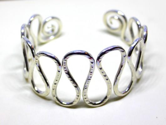 """""""Wave"""" silver bracelet (cod.BR.AG.09)"""