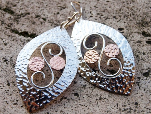 Silver earrings with oval and spiral (cod.OR.AG.02)
