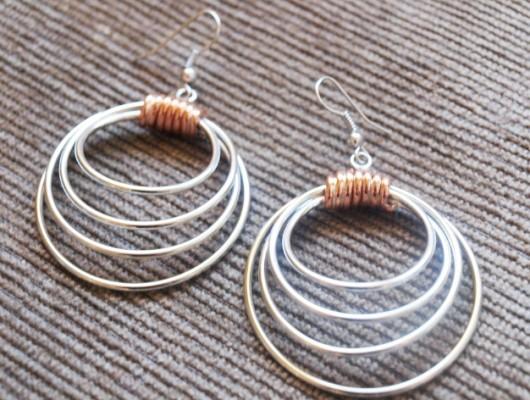 Boucles d'oreilles en argent avec quatre cercles (cod.OR.AG.37)