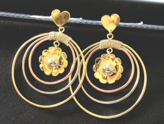 Earrings with flower and small heart (cod.OR.OT.16)
