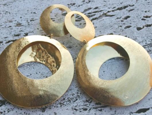 Grandes boucles d'oreilles en laiton à rondes de satin (cod.OR.OT.32)