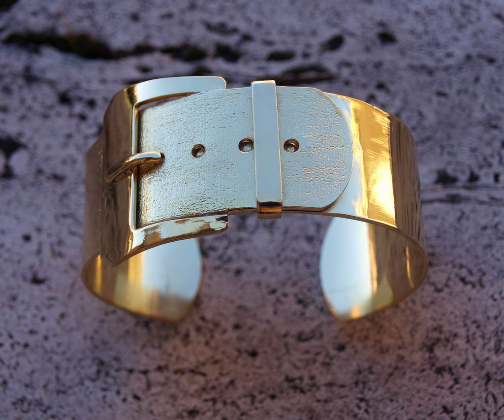 """Bracciale in ottone stile """"cintura"""" (cod.BR.OT.07)"""