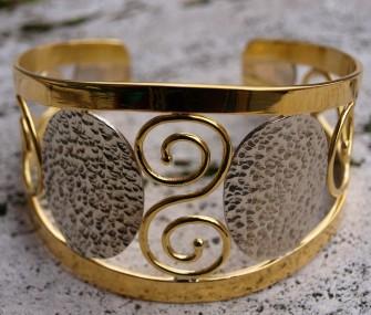Bracciale in ottone con spirali e ovali in argento (cod.BR.OT.08)