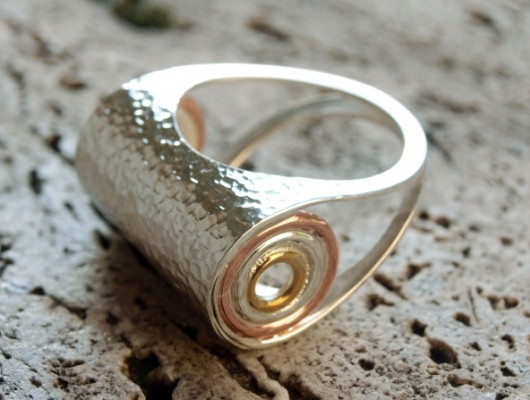 Silver ring with hammered effect (cod.AN.AG.04)