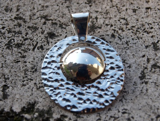 Silver pendant with hammered effect (cod.PN.AG.06)