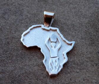 Ciondolo Africa in argento con intarsio di donna (cod. PN.AG.46)