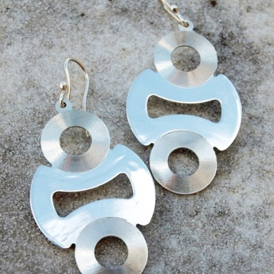 Silver earrings with satin rounds (cod.OR.AG.50)