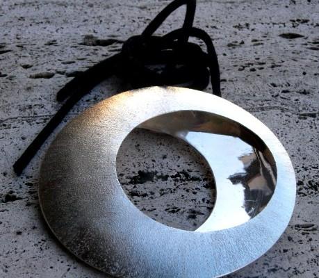 Pendente grande in argento satinato (cod.PN.AG.16)