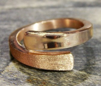 Ring in bronze color with double satin and smooth effect (cod.AN.BZ.08)