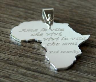 Pendente Africa in argento con frase Bob Marley (cod. PN.AG.31)