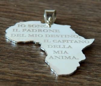 Pendente Africa in argento con frase Nelson Mandela (cod. PN.AG.31)