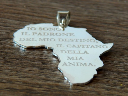 Silver Africa pendant with the phrase Nelson Mandela (code PN.AG.31)