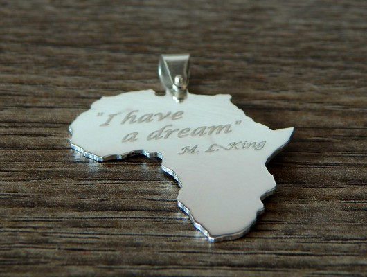 Africa silver pendant with Martin Luther King phrase (code PN.AG.31)