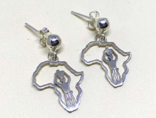 Orecchini Africa in argento con disegno di donna – cod. OR.AG.66