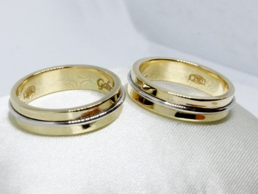 WEDDING RINGS IN GOLD WITH WIRE IN WHITE GOLD (Cod. FN.AU.12)