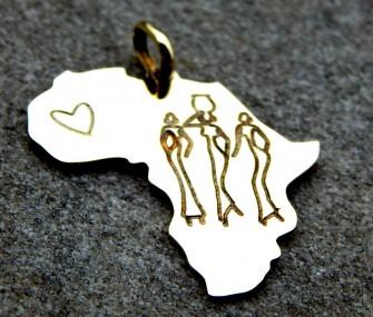 Pendente Africa con donne e cuore (cod. PN.OT.29)