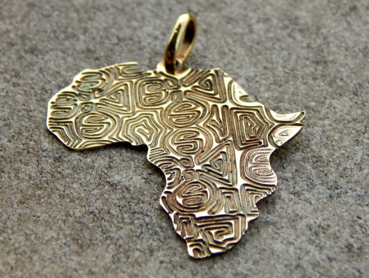 Africa brass pendant with engraving – large