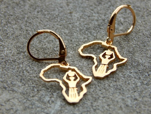 Africa earrings with woman figure (cod. OR.OT.60)