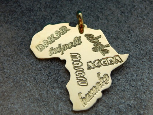 Brass Africa pendant with name of towns – large (cod. PN.OT.24)