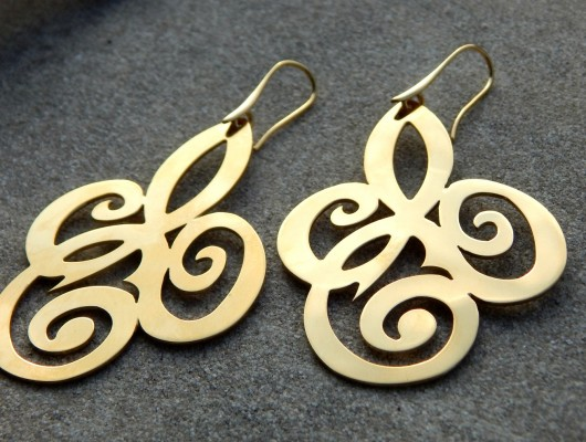 "Brass earrings with ""doodles"" (cod.OR.OT.57)"