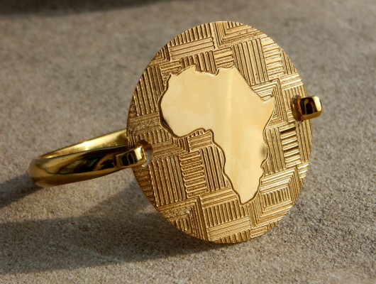 AFRICA BRACELET IN BRASS WITH FABRIC ENGRAVING (COD.BR.OT.02)