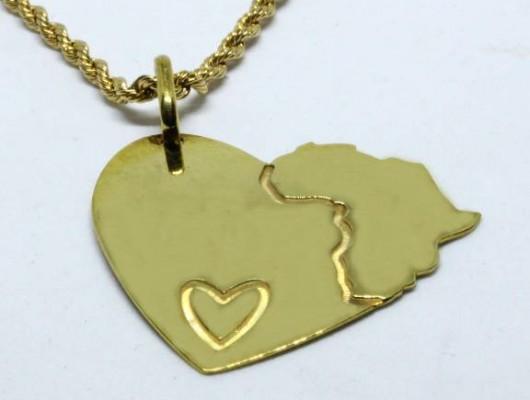 Pendente a cuore con Africa e piccolo cuore (cod. PN.OT.25)
