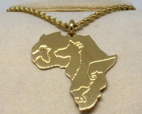 Pendentif Afrique en laiton avec animaux (cod. PN.OT.15)