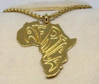 """Pendente in ottone con scritta """"Africa"""" (cod. PN.OT.23)"""