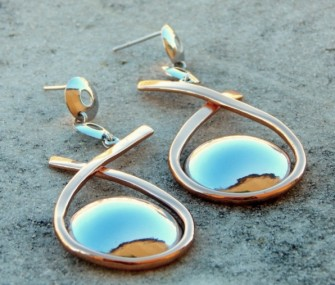 Silver and copper earrings
