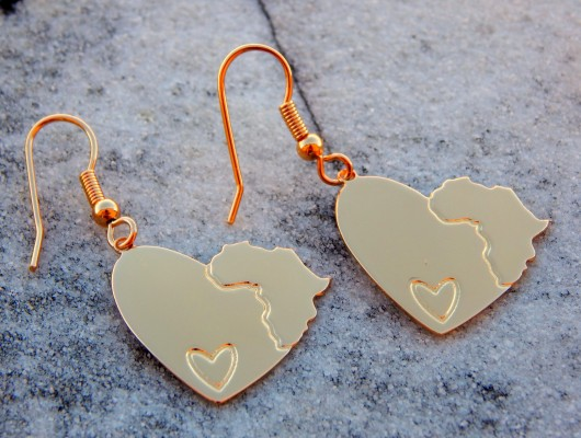 Africa heart earrings