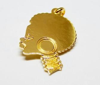 Pendente oro con volto di donna africana (taglia grande, cod. PN.AU.01)