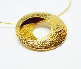(Ita) Pendente a cerchio in ottone martellato (cod. PN.OT.01)