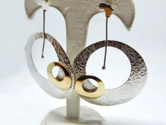 Africa earrings with silver and bronze circles (Cod. OR.AG.63)
