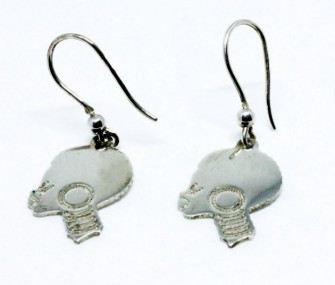 Silver earrings with African woman's head (code OR.AG.45)