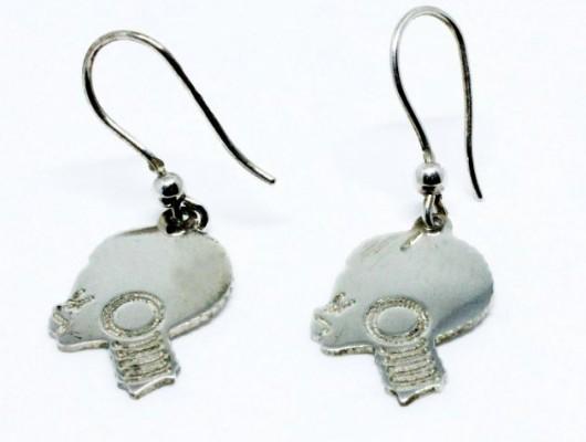 Orecchini in argento con testa di donna africana (codice OR.AG.45)