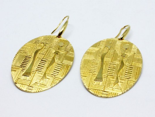 "Earrings ""African women"" with fabric engraving (code OR.OT.52)"