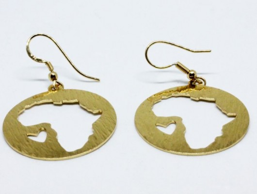 CIRCLE EARRINGS WITH AFRICA AND HEART (COD. OR.OT.54)