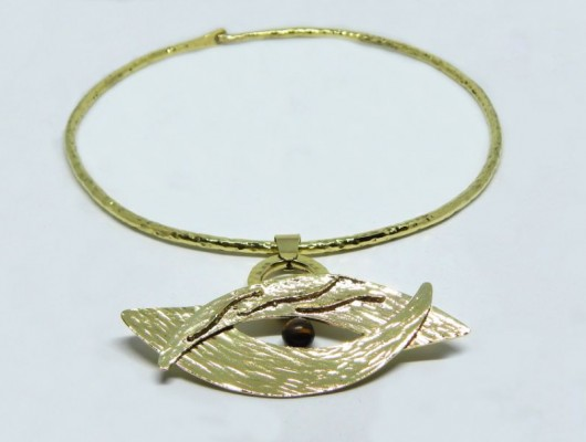 Brass eye-shaped ethnic pendant (cod. PN.OT.46)