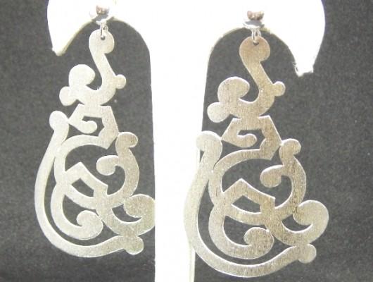 Boucles d'oreilles en argent avec motifs repercés (cod.OR.AG.64)