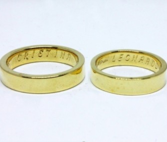GOLD WEDDING RINGS WITH FLAT AND SMOOTH SECTION (Cod. FN.AU.20)