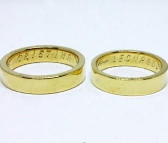 BAGUES DE MARIAGE EN OR AVEC SECTION PLAT ET LISSE (Cod. FN.AU.20)