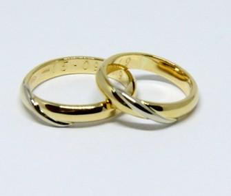 BAGUES DE MARIAGE MOEBIUS EN OR JAUNE ET BLANC (COD. FN.AU.29)