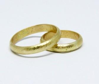 BAGUES DE MARIAGE EN OR CLASSIQUES AVEC SURFACE GRIFFEE (COD. FN.AU.27)