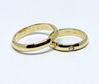 BAGUES DE MARIAGE EN OR CLASSIQUES AVEC BRILLANT (COD. FN.AU.26)