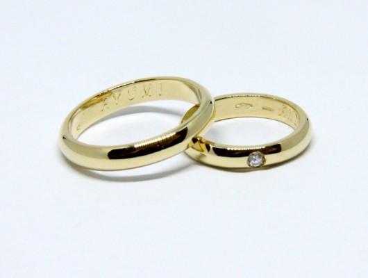 CLASSIC WEDDING RINGS WITH BRILLIANT (COD. FN.AU.26)