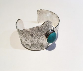 ETHNIC SILVER BRACELET WITH TURQUOISE STONE (COD. BR.AG.34)