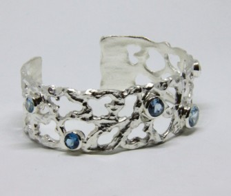 ETHNIC SILVER BRACELET WITH AQUAMARINE STONES (COD. BR.AG.37)