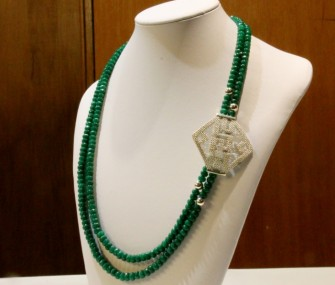 Silver filigree clip and necklace of emerald spheres (Cod. FR.AG.01)