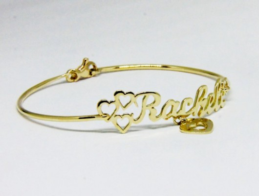 GOLD BRACELET WITH NAME AND HEARTS (COD. BR.AU.01)